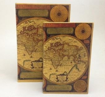 Набор шкатулок фолиантов старинная карта мира