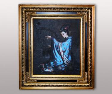 Картина Девушка играет на арфе