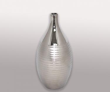 Ваза керамическая стального цвета узкое горло