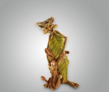 Фигурка из полистоуна кикимора с зайцем