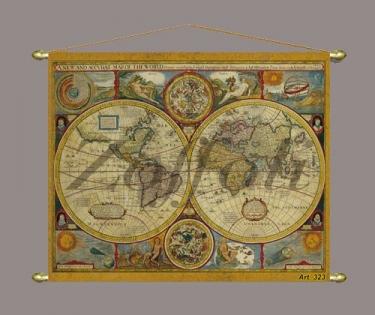 Карта мира старинная на холсте музейная копия
