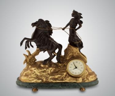 Часы каминные Афина зеленый мрамор