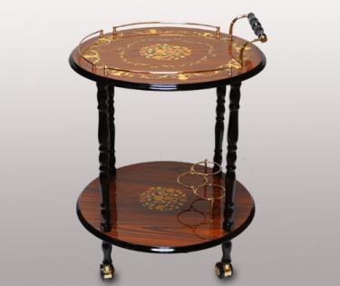 Столик сервировочный круглый на колесиках