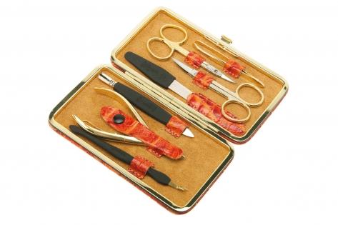 Маникюрный набор GD 7 предметов кожа мандариновый цвет