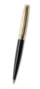 Ручка шариковая Caseti черная с золотой полоской