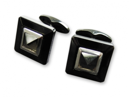 Запонки Caseti сталь с темным покрытием камень кварцит