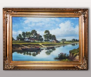 Картина деревня у реки