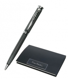 Набор визитница и ручка Pierre Cardin черный лак