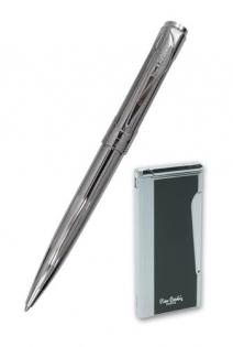 Набор зажигалка и шариковая ручка Pierre Cardin латунь хром