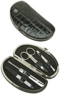 Маникюрный набор GD 4 предмета кожа черная с тиснением