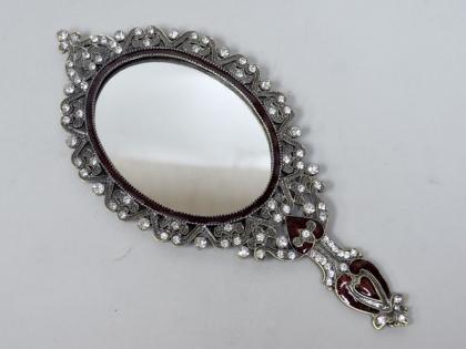 Зеркало из олова со стразами маленькая ручка