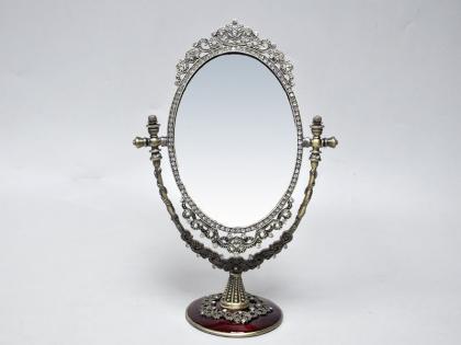 Зеркало настольное из олова со стразами
