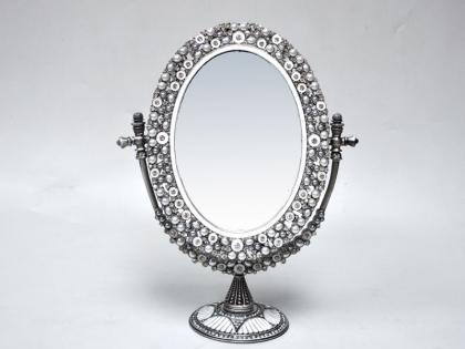Зеркало настольное круглое из олова со стразами