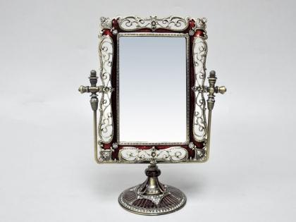Зеркало настольное прямоугольное из олова и стекла