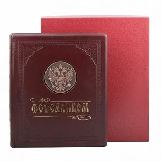 Фотоальбом кожаный герб РФ