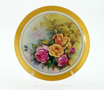 Тарелка декоративная на подставке садовые цветы