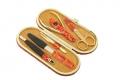Маникюрный набор GD мандаринового цвета кожа 5 предметов