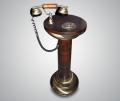 Ретро телефон встроенный в тумбу из ореха