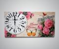 Часы прямоугольные букет из роз