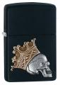 Зажигалка Zippo Classic с покрытием Black Matte череп
